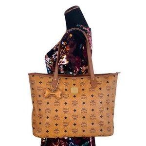 MCM Authentic Brown Medium Shopper Tote